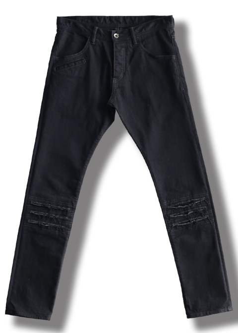 DENIM DAMEGE PANTS O/W(BLACK)