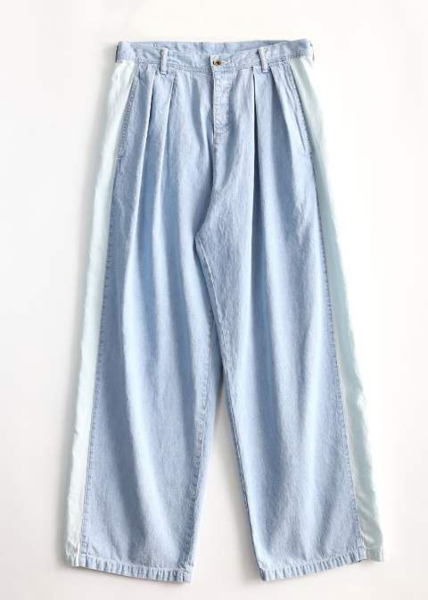 【ラスト1点】DENIM SIDE LINE PANTS CHEMICAL-WASH(Light indigo)