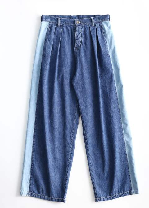 DENIM SIDE LINE PANTS CHEMICAL-WASH(INDIGO)