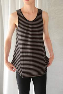 LONG BORDER TANK TOP(BLACK/TOUPE)