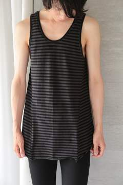 LONG BORDER TANK TOP(BLACK/GRAY)
