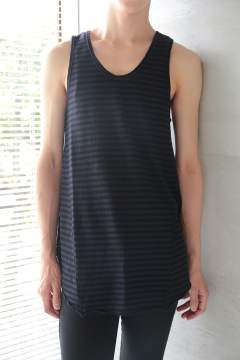 LONG BORDER TANK TOP(BLACK/NAVY)