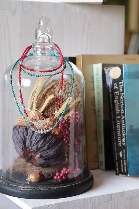 BEADS NECKLACE(RED-TURQUOISE/idealism sound×acacia)