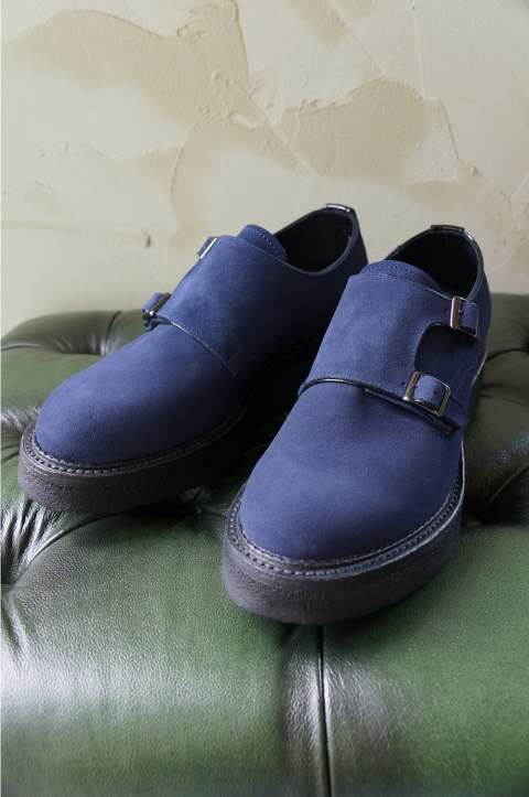 【ラスト1点】DOUBLE MONK SHOES(NAVY SUEDE)