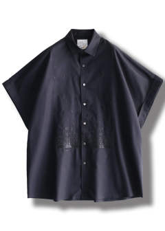 【ラスト1点】FIGURES EMB. S/S BIG SHIRTS(BLACK)