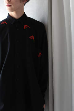 EMB. BIRD SHIRTS(BLACK)