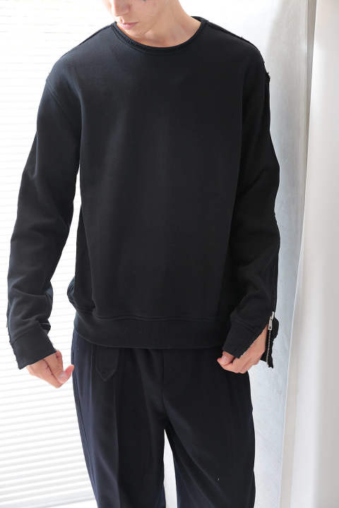 【ラスト1点】LS ROLL EDGE CREWNECK SWEATSHIRT W ZIPPER-FRENCH T(BLACK)
