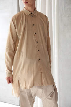 LOOSE FIT LONG SHIRT#53(SAND TWILL)