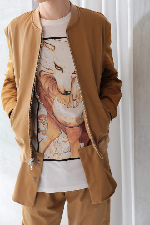 【ラスト1点】CLASSIC BOMBER SHIRT JACKET W NYLON SLEEVES(CAMEL)