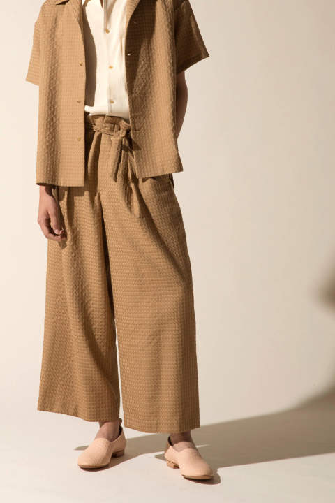 【ラスト1点/E118-705】JACQUARD WIDE PANTS(BEIGE)