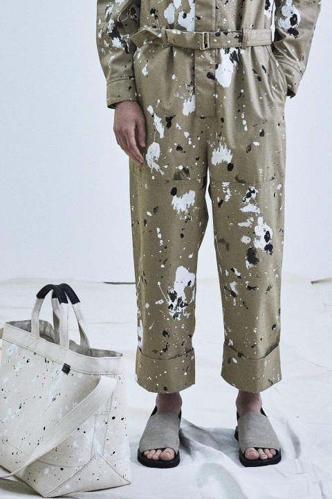 SLIM PANT W CUFF AND DETACHABLE APRON-ALL OVER P(KHAKI)