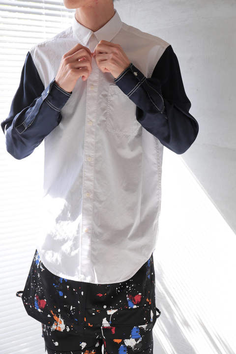 CLASSIC BUTTONDOWN SHIRT W RAYON TWILL COMBO(WHITE)