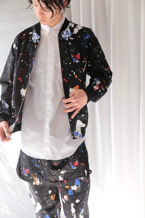 CLASSIC PAINTED BOMBER JACKET ALL OVER PAINT(BLACK)