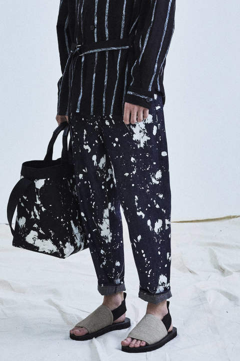 【ラスト1点】BANANA LEG TROUSER -PAINTED DENIM(INDIGO)