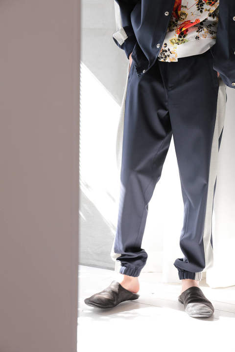CLASSIC LOUNGE PANT W TUXEDO STRIPE-WOOL SUITING(MIDNIGHT)