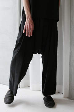 EXTRA LOOSE CROPPED TROUSERS #45(BLACK)