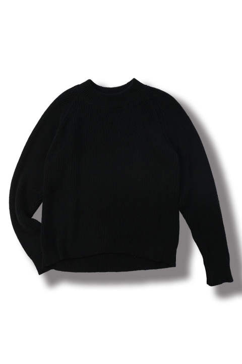 REGULAR FIT KNITTED CREW NECK SWEATER #38(BLACK)