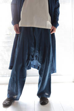 EXTRA LOOSE CROPPED TROUSERS #45(INDIGO)