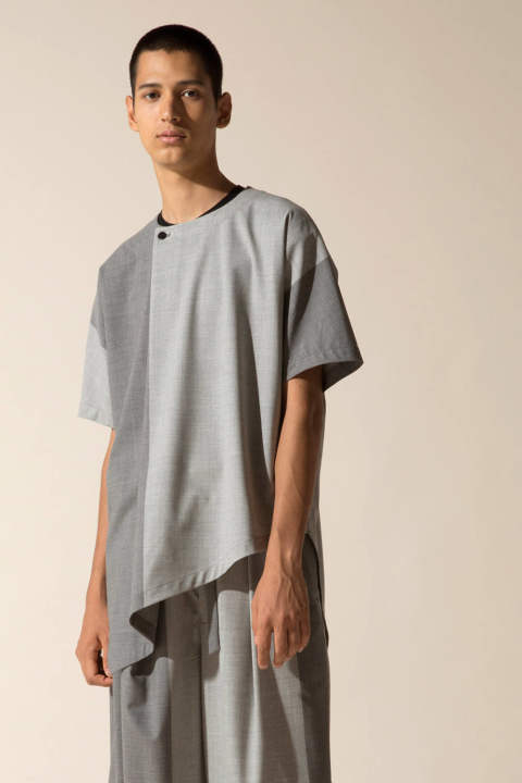 PANEL SHIRTS PULL-OVER【E118-602(LIGHT GRAY×GRAY)】