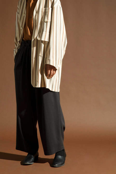 GEORGETTE WIDE PANTS【E218-704(BROWN)】