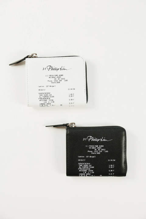 MINI ZIP AROUND WALLET-RECEIPT PRINT(BLACK/WHITE)