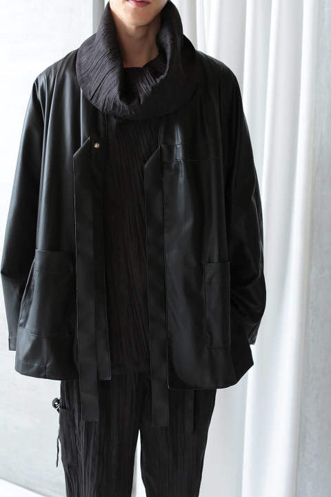 HAORI LEATHER JK(BLACK)