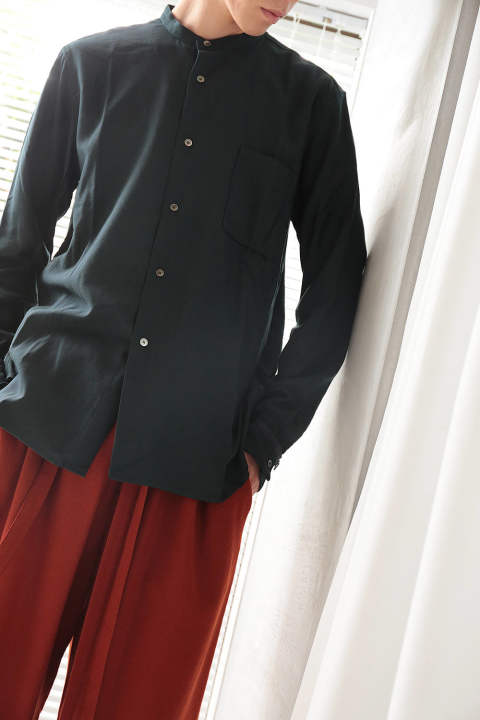 NO COLLAR SHIRTS(GREEN-NAVY/EH37SH-02B)