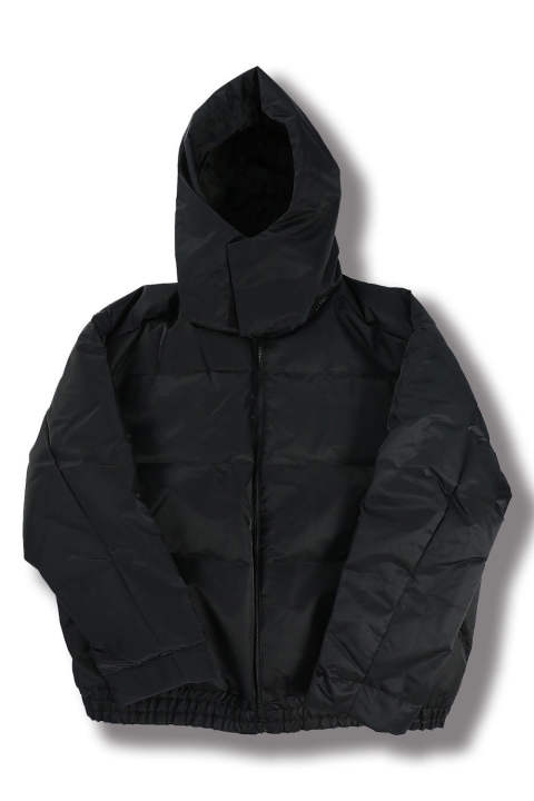 W HOODED DOWN JACKET(BLACK)