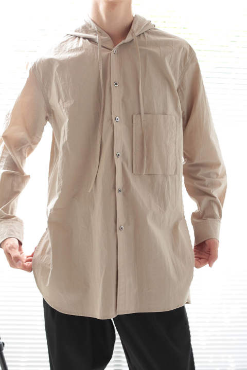 HOODED LONG SHIRTS(BEIGE)