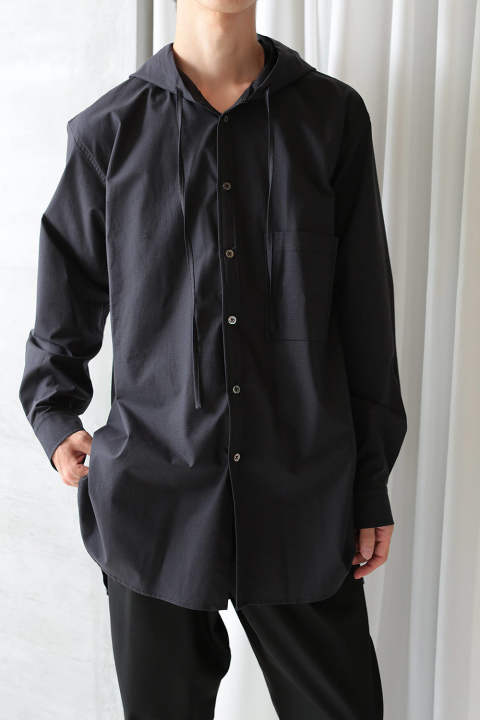 HOODED CHECK LONG SHIRTS(BLACK)