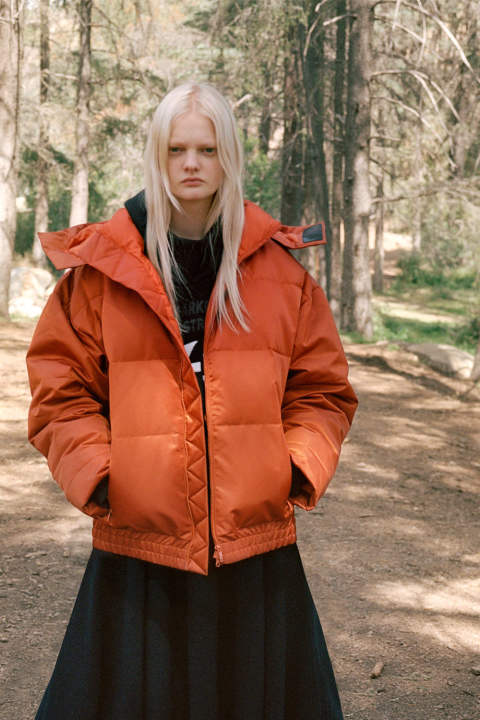W HOODED DOWN JACKET(FOX RED)