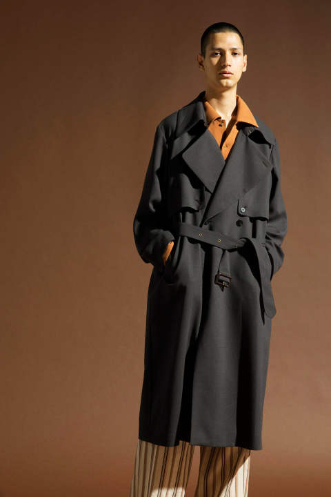 GEORGETTE TRENCH COAT【E218-502(BROWN)】