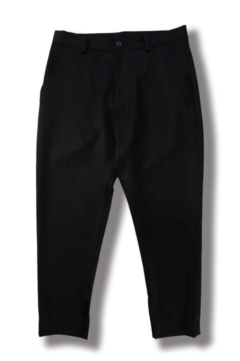 CROPPED SLIT PANTS(BLACK)