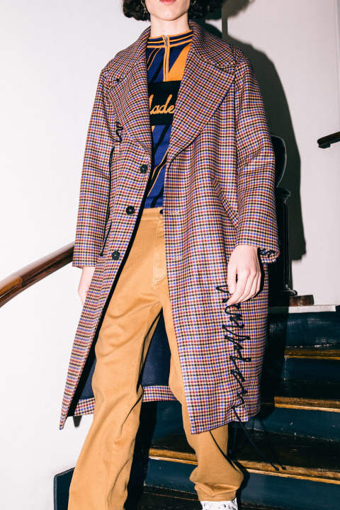 【ラスト1点】OVERSIZED CHECKED COAT WITH HANDMADE CORDS INSERTS(MULTI)