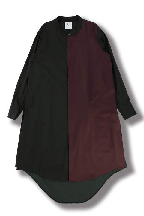 STAND COLLAR COAT(BLACK×BORDEAUX)