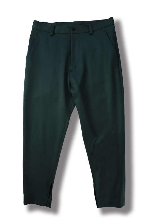 CROPPED SLIT PANTS(DARK GREEN)
