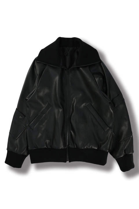 FAKE LEATHER BLOUSON(BLACK/EH37J-04C)