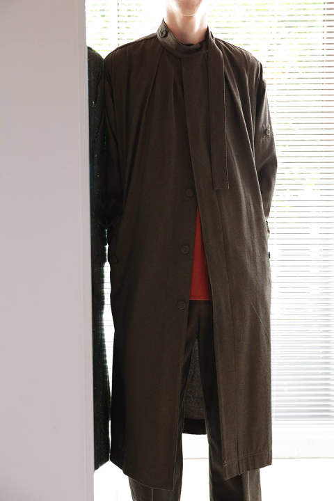 BELT COLLAR COAT(BROWN)