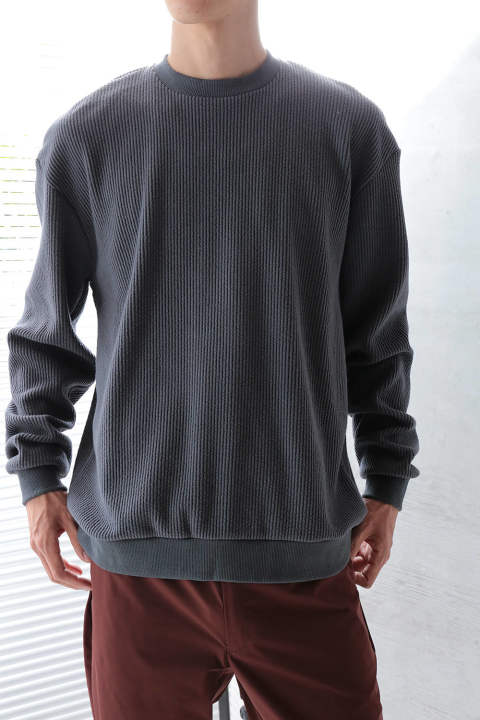 CORDUROY MOCK NECK(CHARCOAL)