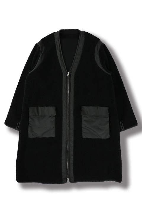 REVERSIBLE BOA COAT(BLACK)