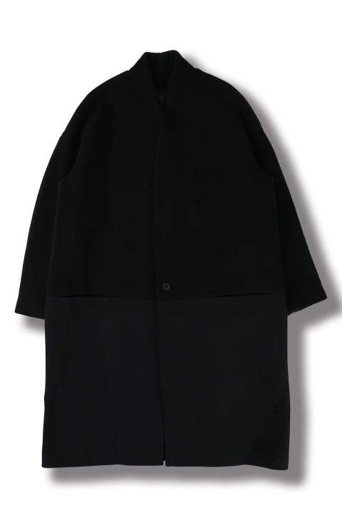 COLLARLESS COAT(BLACK)