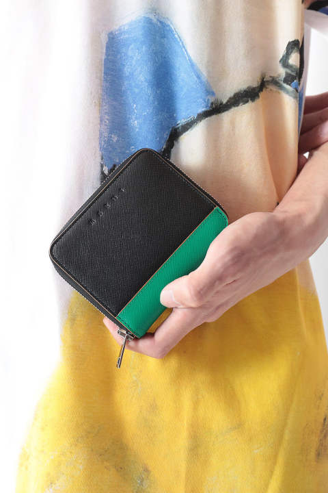 【ラスト1点】SHORT ZIP WALLET(BLACK/SEA GREEN/RUBY)