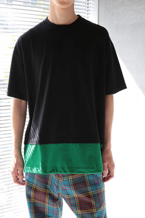 【ラスト1点】LAYERED CUTSEW(BLACK/GREEN)