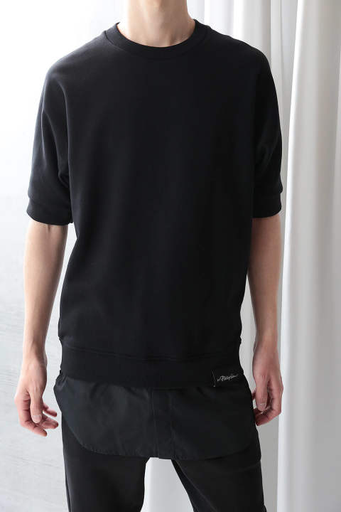 SS SWEATSHIRT W POPLIN SHIRT TALL(BLACK)
