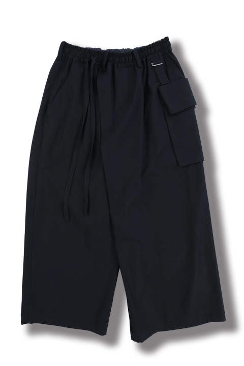 WIDE CROPPED WRAP PANTS(NAVY)