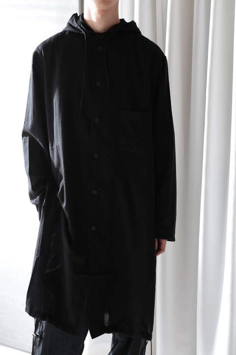 【ラスト1点】U COTTON FOODED LONG SHIRT(BLACK)