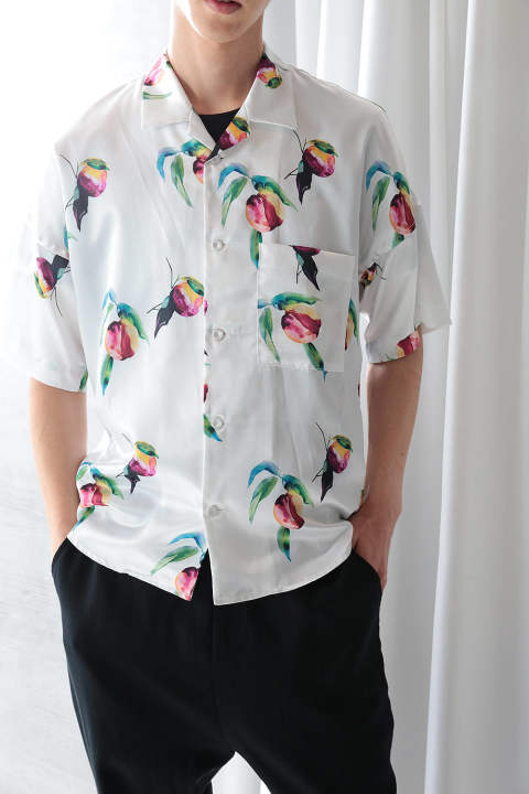 【ラスト1点】PRINT OPEN COLLAR SHIRT(WHITE)