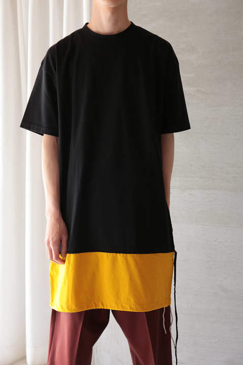 LAYERED LONG CUTSEW(BLACK/YELLOW)