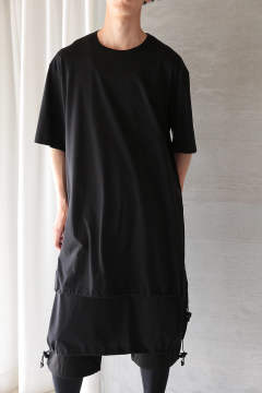 U DRAWSTRING LONG SS TEE(BLACK)