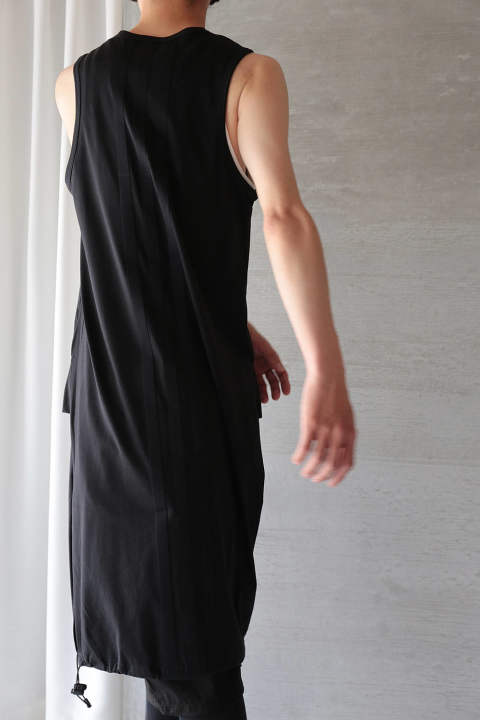 U DRAWSTRING LONG TANK(BLACK)